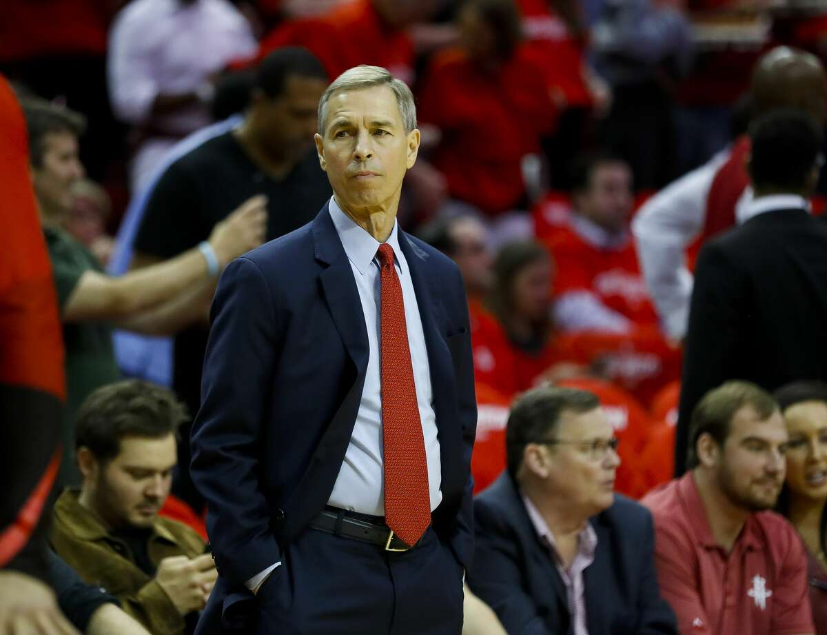 Rockets associate head coach Jeff Bzdelik watches from the sideline before Game 3 of a NBA Western Conference semifinal playoff game at Toyota Center, in Houston , Saturday, May 4, 2019.