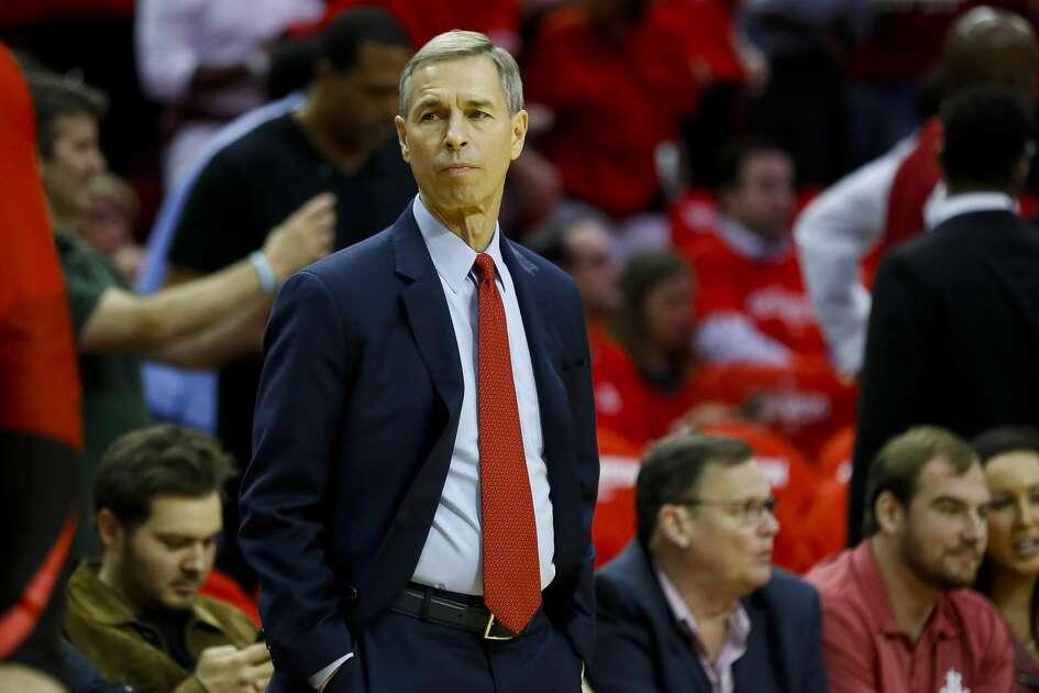 688b2d87550da Rockets associate head coach Jeff Bzdelik watches from the sideline before  Game 3 of a NBA