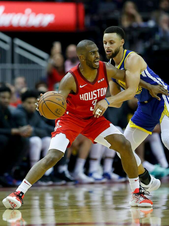 FILE PHOTO: Houston Rockets guard Chris Paul (3) is defended by Golden State Warriors guard Stephen Curry (30) during the third quarter of Game 3 of a NBA Western Conference semifinal playoff game at Toyota Center, in Houston , Saturday, May 4, 2019. Photo: Karen Warren, Staff Photographer