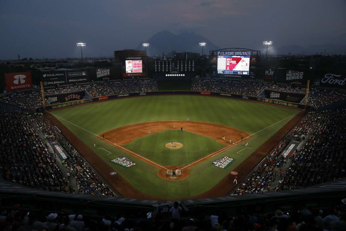 The Houston Astros play the Los Angeles Angels in the sixth inning of a baseball game, in Monterrey, Mexico, Saturday, May 4, 2019. (AP Photo/Rebecca Blackwell)
