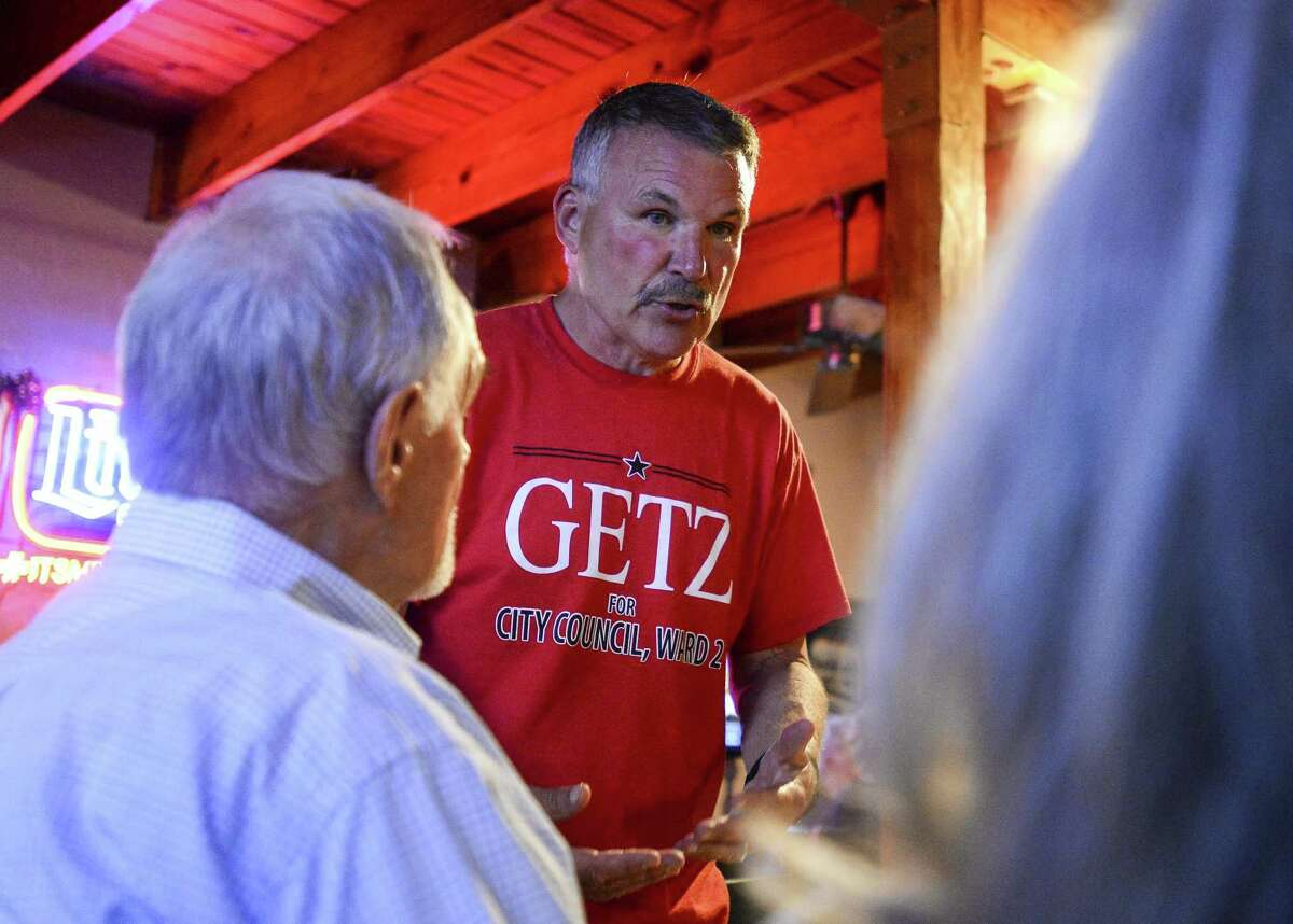 Incumbent Ward II Commissioner Mike Getz talks to people at his watch party at the Boudain Hut Saturday evening. Photo taken on Saturday, 05/04/19. Ryan Welch/The Enterprise