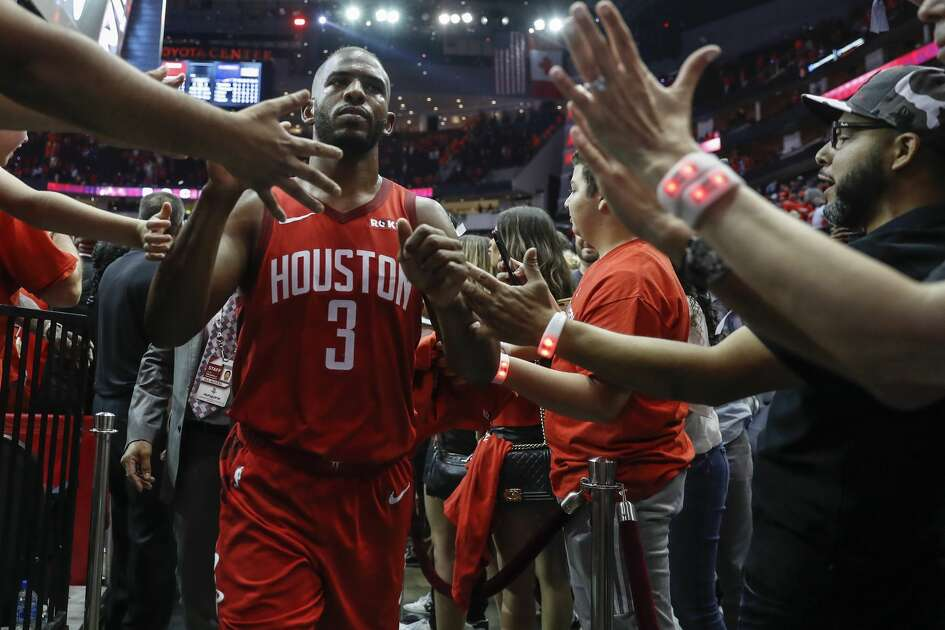 premium selection ac706 f2eb2 Houston Rockets guard Chris Paul (3) walks back to the locker room after the