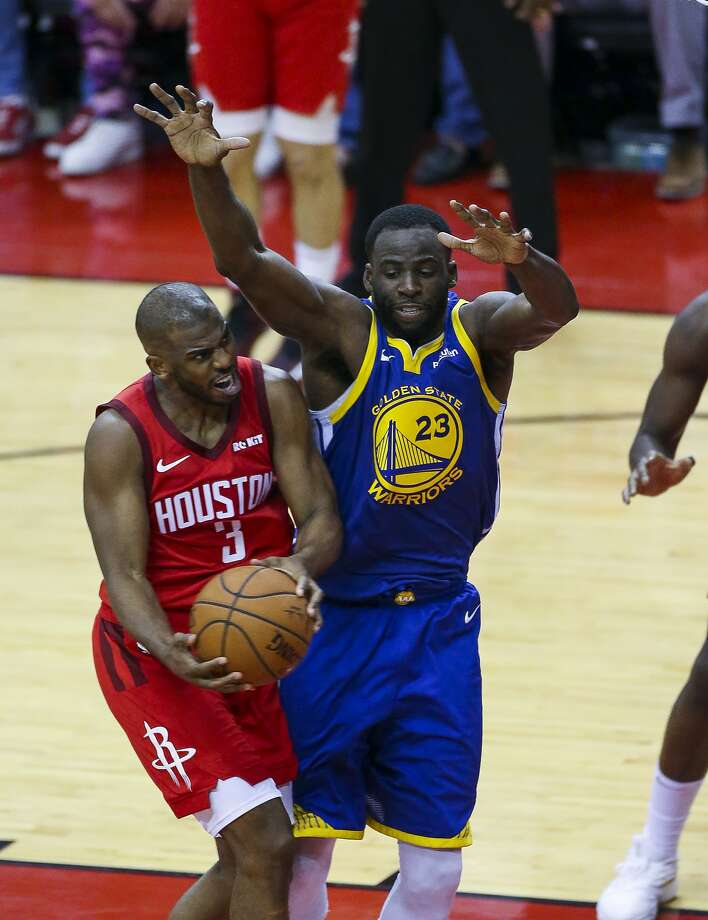 FILE: Houston Rockets guard Chris Paul (3) drives against Golden State Warriors forward Draymond Green (23) during Game 3 of the Western Conference semifinals at Toyota Center in Houston, Saturday, May 4, 2019. Photo: Elizabeth Conley, Staff Photographer
