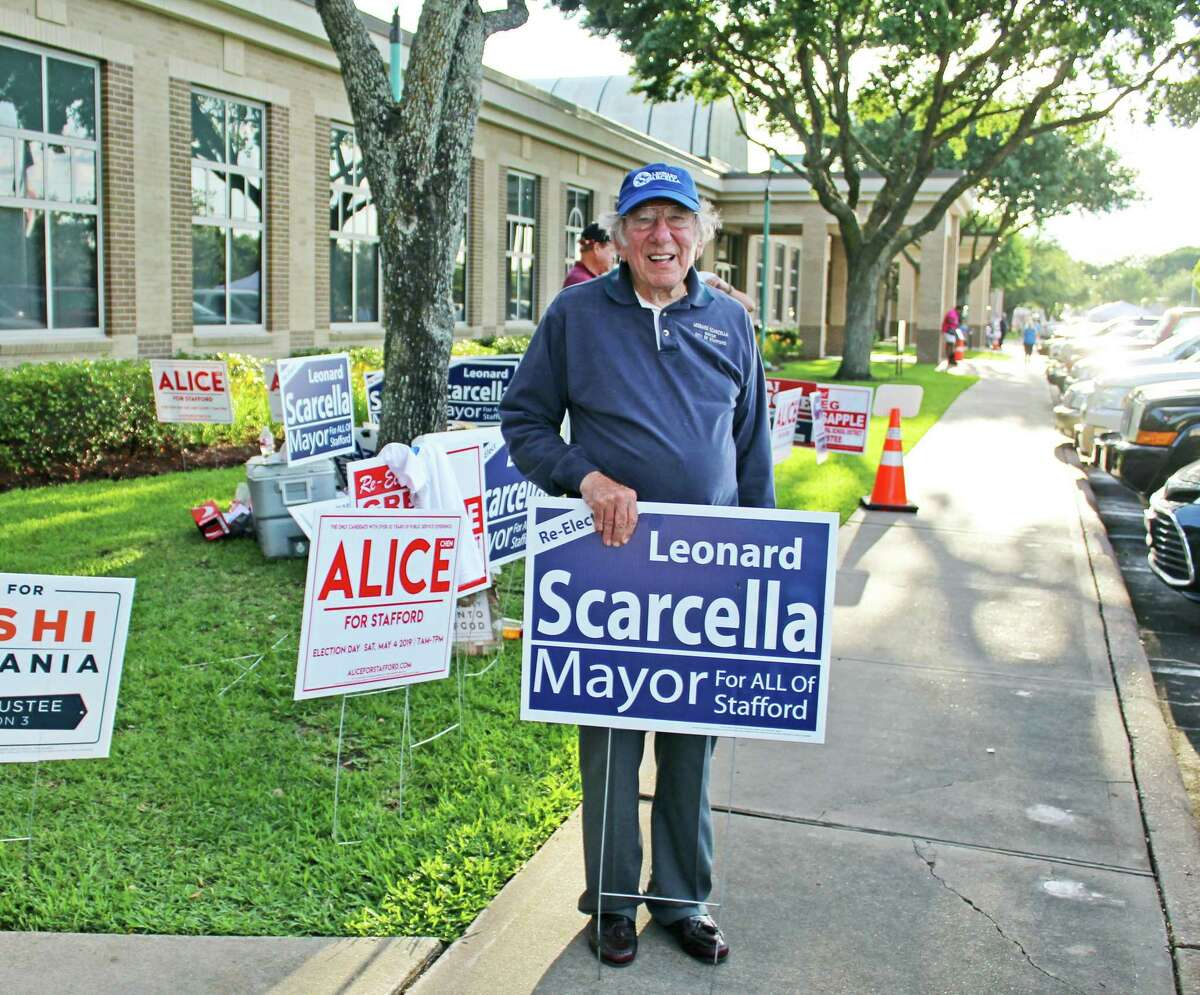 Stafford Mayor Leonard Scarcella, first elected in 1969 and recognized as the longest serving mayor in Texas, stands outside the city hall polling location on Election Day, May 4. According to unofficial election results, Mayor Scarcella won re-election by a margin of almost 70 percent over two challengers.