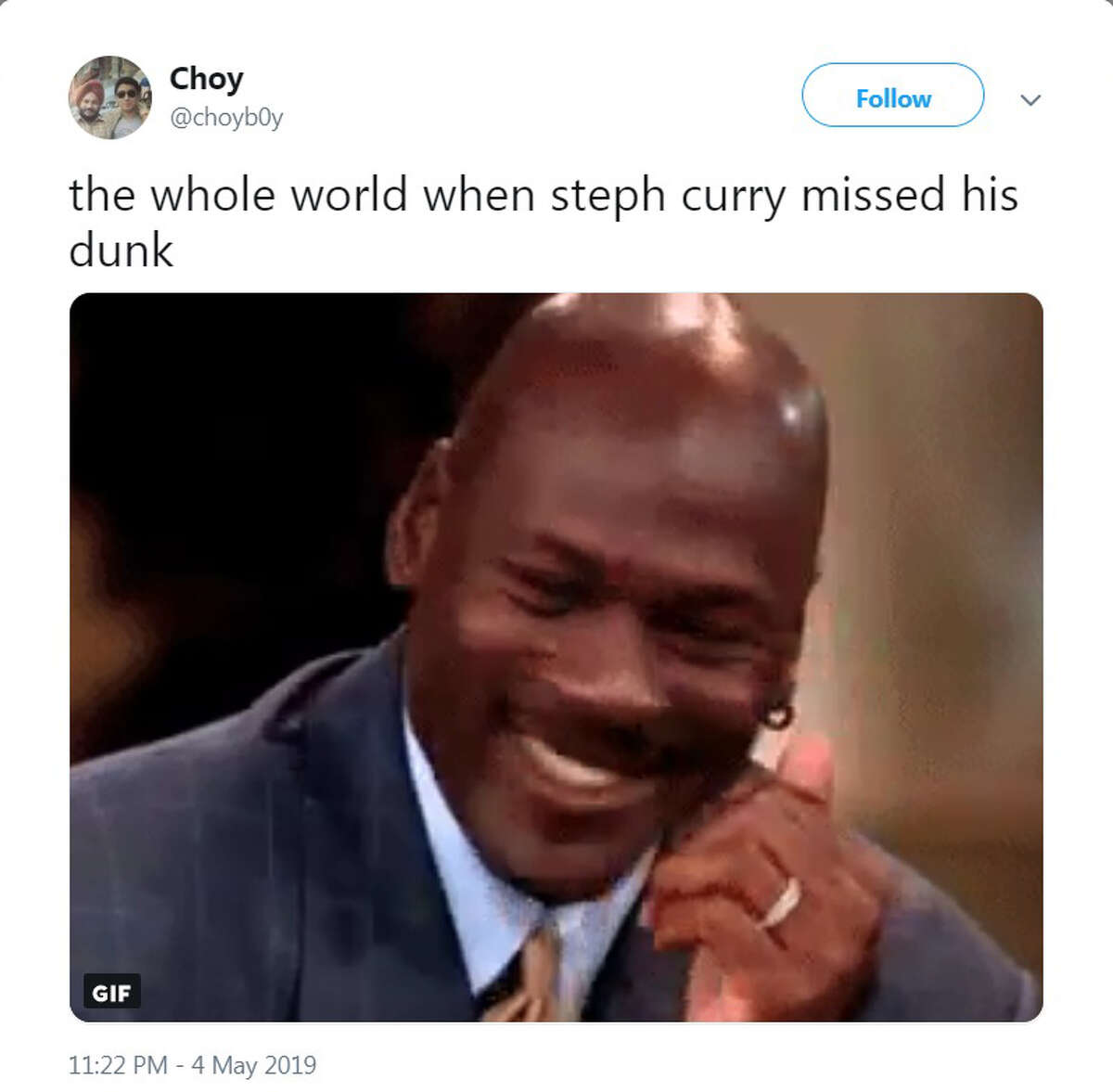 PHOTOS: Best memes from Steph Curry's poor Game 3 against the Rockets Twitter users went after Golden State's Steph Curry when he played poorly and missed a dunk in a Game 3 loss to the Rockets on Saturday, May 4, 2019. Browse through the photos above for a look at the internet's best reaction to Steph Curry's missed dunk in Game 3 ...