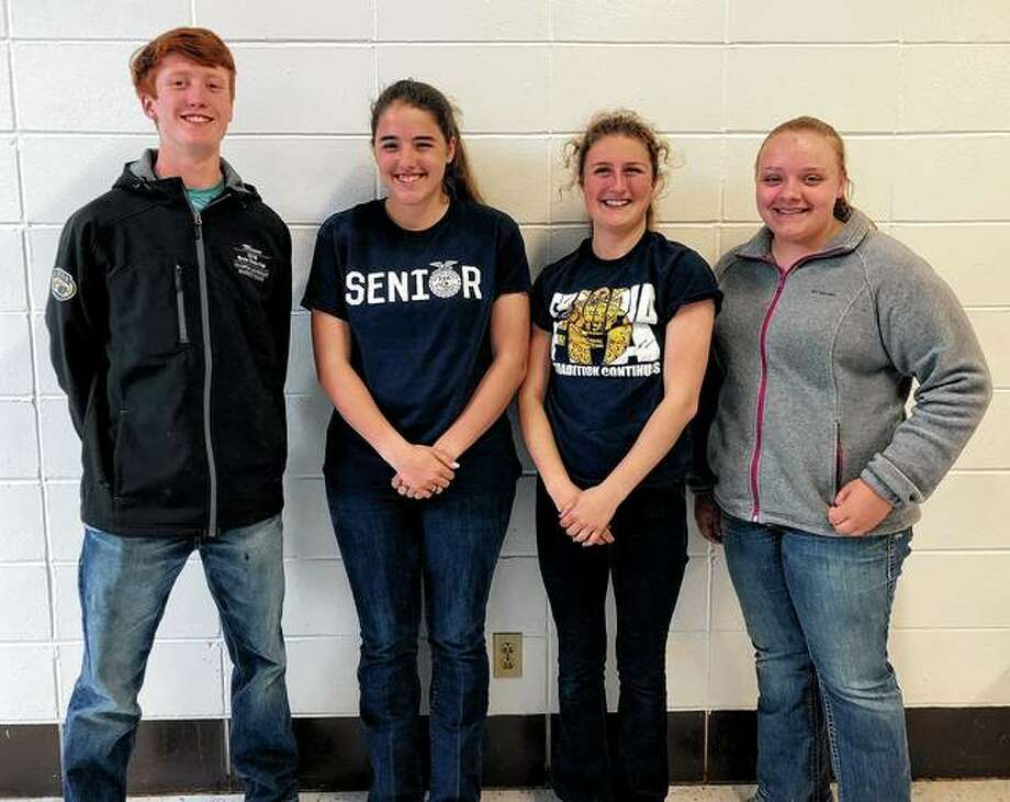 Triopia FFA members Laila Beck, Mason Fricke, Kira Sayre and Zoey Walker competed April 26 at the Illinois FFA State Livestock Judging Competition at the University of Illinois. Triopia was named state champion in the non-reasons division. Kira Sayre placed third and Mason Fricke placed ninth overall in individual competition. More than 400 individuals and 100 teams competed during the event. Photo: Photo Provided