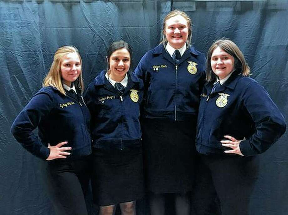 Members of the Bluffs FFA chapter recently attended the Section 13 banquet, during which they voted for the 2019-2020 section officer team and received awards for the year. Those attending included Sydney Whicker (from left), Kayde Gregory, Morgan Hoots and Madison Hopkins. Whicker, Hoots and Emily Tytko (not pictured) received awards for being among the chapter's most active members. Photo: Photo Provided