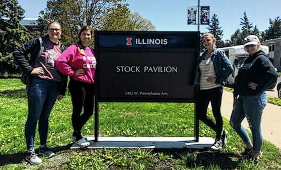 Bluffs FFA's poultry team recently competed in an FFA state poultry competition at the University of Illinois. The team placed 40th in the state and Alyssa Bartels placed 84th in the state in individual competition. Team members participating included Morgan Hoots (from left), Alyssa Bartels, Caleigh Jones and Sydney Whicker. Photo: Photo Provided
