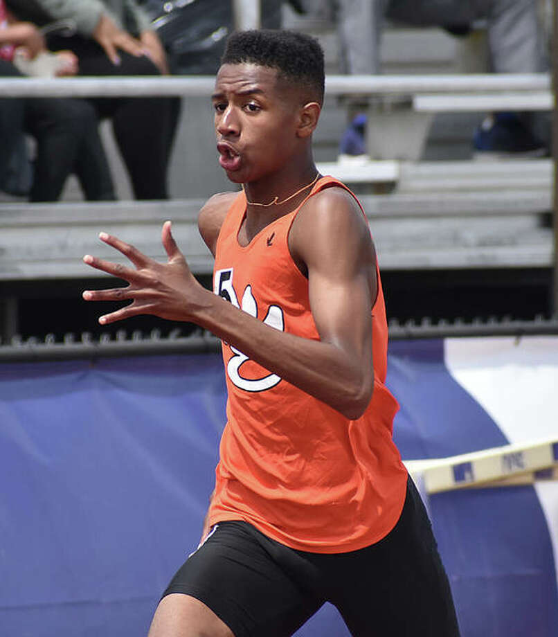Edwardsville's Brandon Battle nears the finish line of the 400-meter run at Saturday's Collinsville Invitational. Photo: Matt Kamp/The Intelligencer