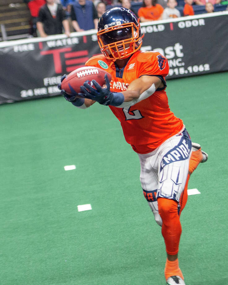 Albany Empire wide receiver Demetres Stephens catches a touchdown against the Washington Valor during an arena football game at the Times Union Center on Saturday, May 4 (Jim Franco/Special to the Times Union)
