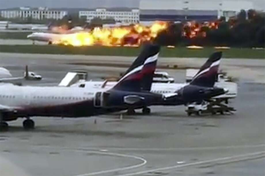 This image taken from video provided by Instagram user @artempetrovich, shows the SSJ-100 aircraft of Aeroflot Airlines on fire during an emergency landing in Sheremetyevo airport in Moscow, Russia, Sunday, May 5, 2019. (@artempetrovich via AP) Photo: Associated Press