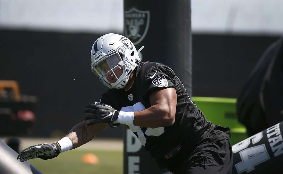 Seventh-round draft pick Quinton Bell runs through a defensive drill during the first day of a mini-camp for rookies at the Oakland Raiders practice facility in Alameda, Calif. on Friday, May 3, 2019.