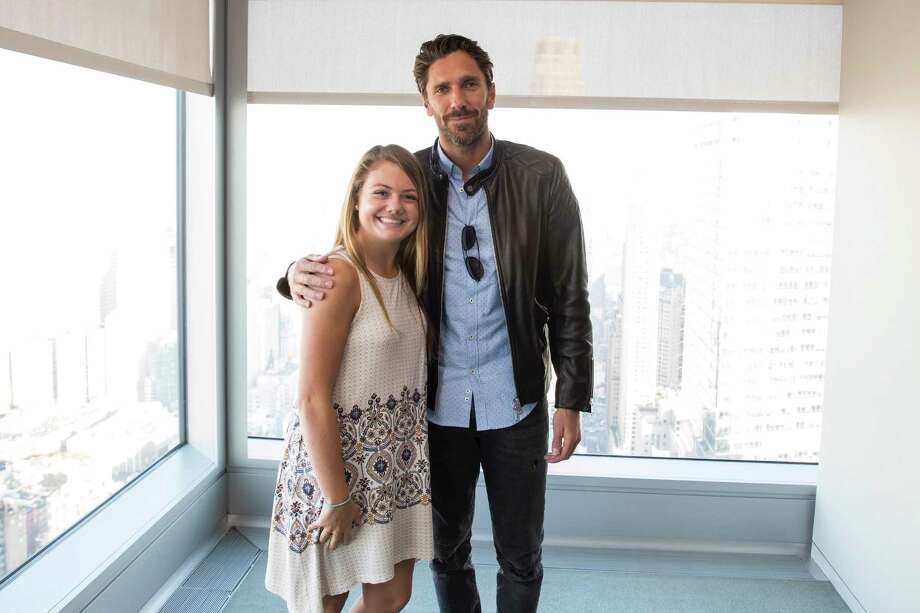 Natalie Kennedy with New York Rangers goalie Henrik Lundqvist. Kennedy, a senior at Immaculate High School received a $25,000 scholarship from the Henrik Lundqvist Foundation and the Garden of Dreams Foundation in April. She will play hockey at Sacred Heart in the fall and enter into the schools honors nursing program. Photo: Contributed / Rebecca Taylor /MSG Photos / ©2017 MSG Sports & Entertainment Holdings, LLC