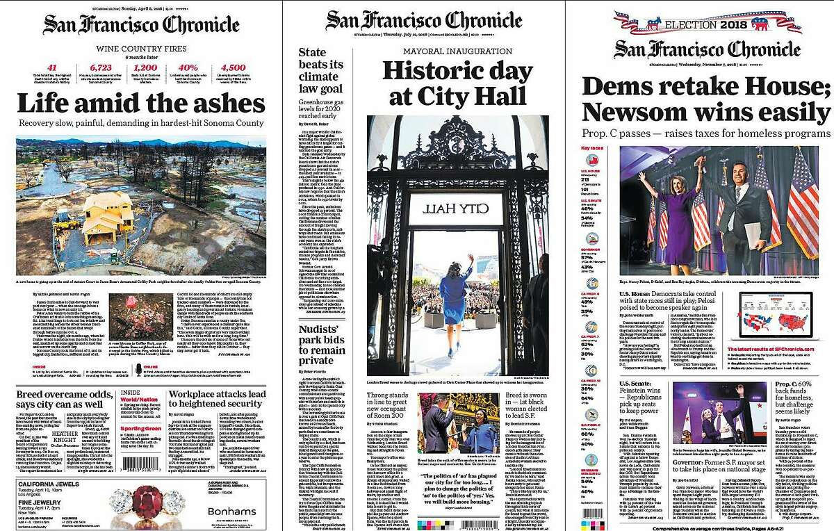 Among 15 first-place awards won by the San Francisco Chronicle in the 2018 California News Publishers Association contest was one for front-page design. The three-page winning entry is shown on Sunday, May 5, 2019 in San Francisco, Calif.