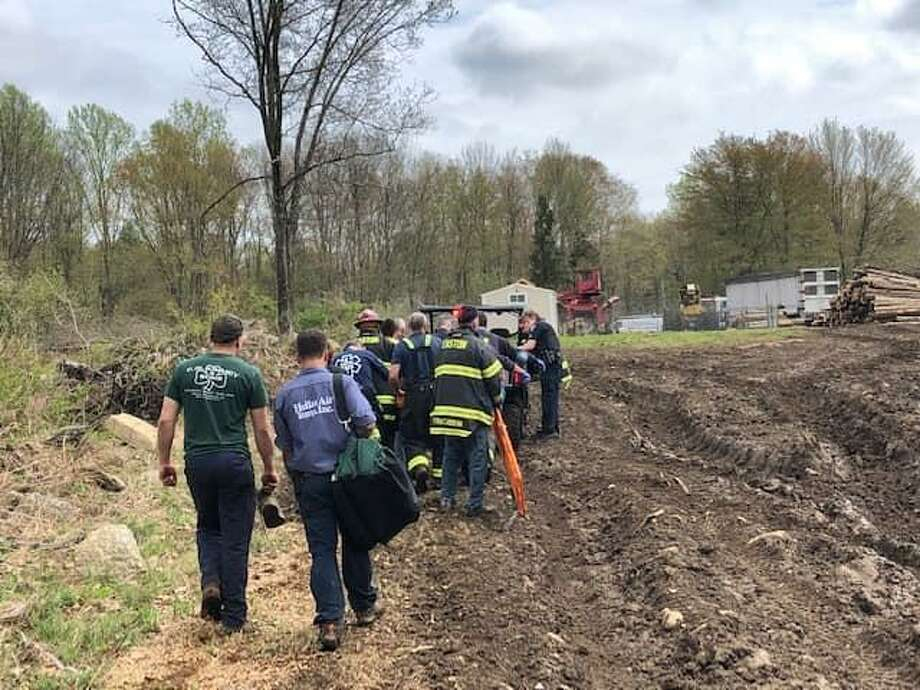 Easton police, fire and medical services rescued someone stuck in the woods on May 4, 2019. Photo: Contributed / Easton EMS