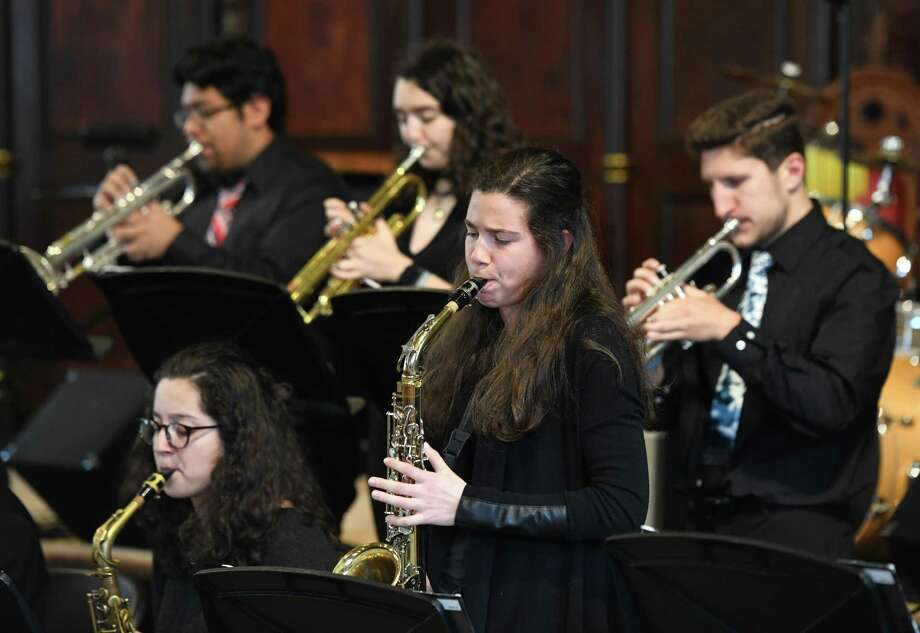 Westhill sophomore Savannah Madar performs a solo with Westhill High School's Jazz Ensemble during the Mayor's Multicultural Council second annual Afternoon of Jazz at the Unitarian Universalist Society in Stamford, Conn. Sunday, May 5, 2019. Folks enjoyed performances by Westhill's Jazz Ensemble, Sylvia Mims and Tony Davis, Nicole Pasternak and Hiroshi Yamazaki, and Barbara's Serenade. Photo: Tyler Sizemore / Hearst Connecticut Media / Greenwich Time