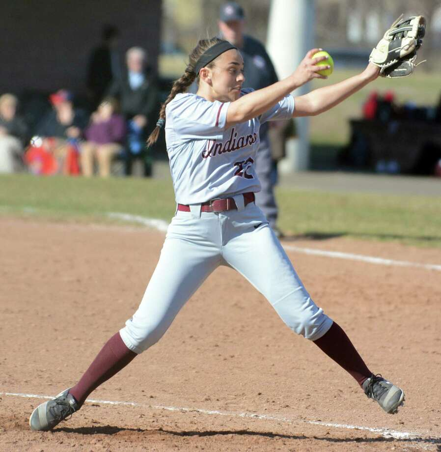 Pitcher Lauren Card and the North Haven softball team has compiled a 13-0 record this season. Photo: Dave Phillips / For Hearst Connecticut Media / Stamford Advocate Freelance