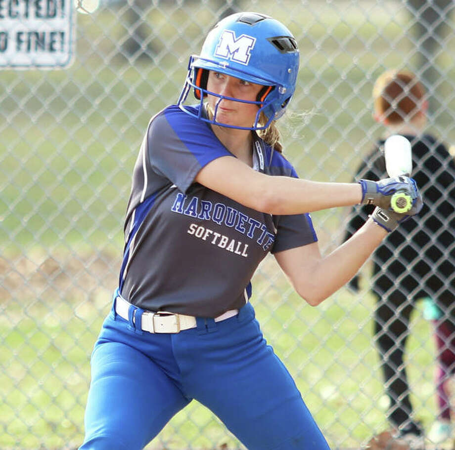 Marquette Catholic's Jada Johnson had two hits in each of the Explorers two games Saturday at the QND Cluster at the Backyard in Quincy. The Explorers are 17-8. Photo: Greg Shashack / The Telegraph