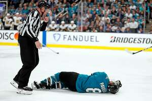 San Jose Sharks' Joe Pavelski lays injured in 3rd period during Game 7 of NHL Western Conference 1st round playoff game at SAP Center in San Jose, Calif., on Tuesday, April 23, 2019. The Sharks would score 4 goals on the ensuing 5 minute major penalty on Vegas Golden Knights' Cody Eakin.