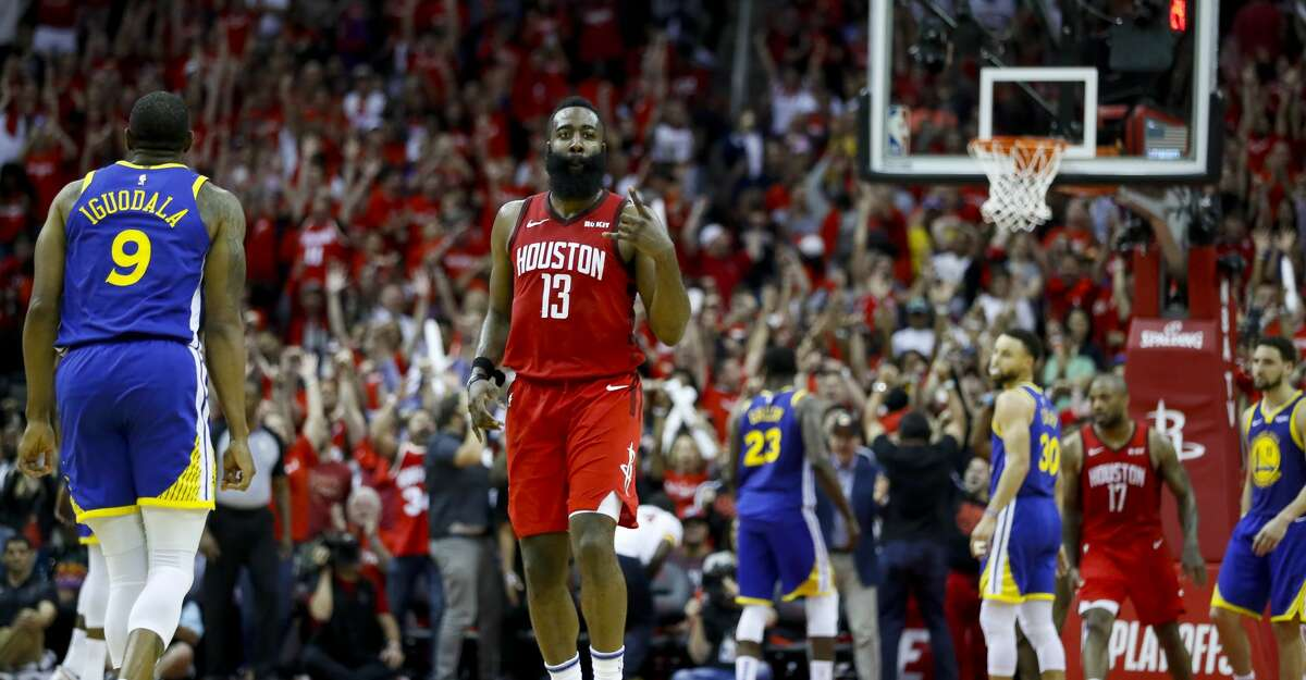 Houston Rockets guard James Harden (13) reacts after making a shot during overtime of Game 3 of a NBA Western Conference semifinal playoff game at Toyota Center, in Houston , Saturday, May 4, 2019.