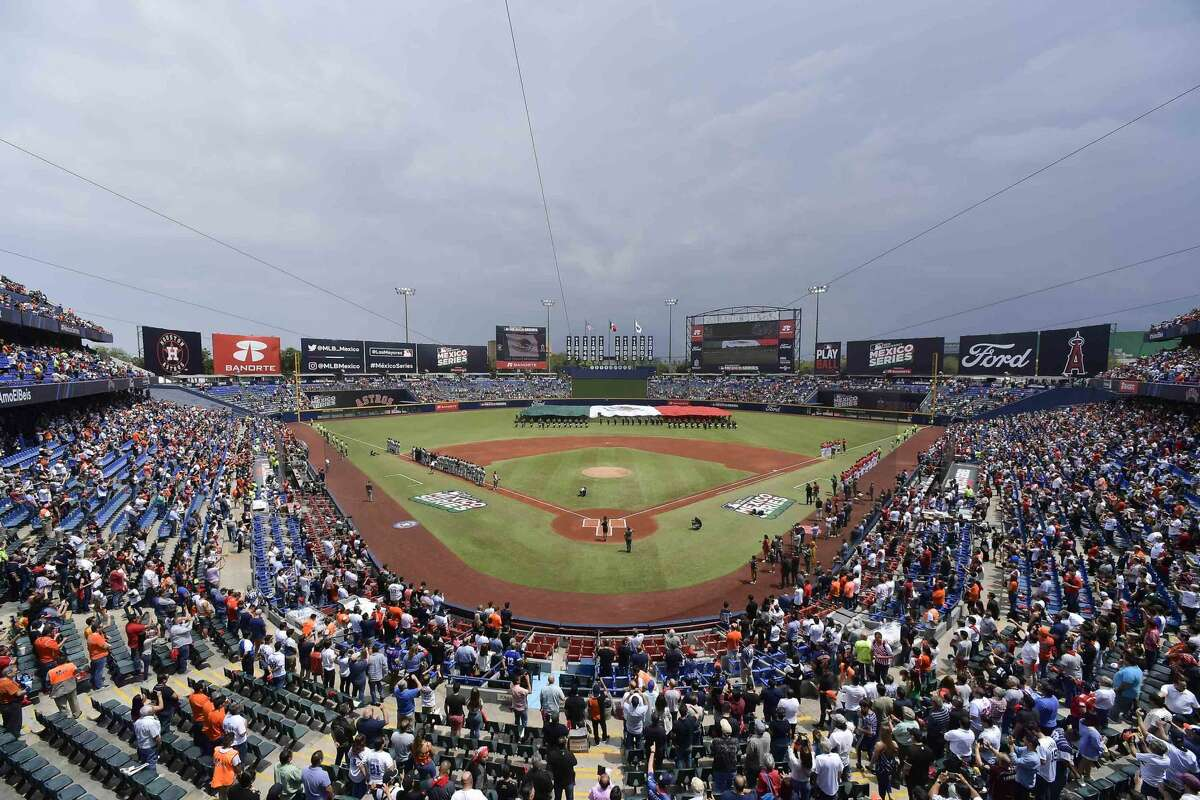 MONTERREY, MEXICO - MAY 05: General view of the Estadio de Beisbol Monterrey prior the Houston Astros vs Los Angeles Angels of Anaheim match as part of the Mexico Series at Estadio de Beisbol Monterrey on May 05, 2019 in Monterrey, Nuevo Leon. (Photo by Azael Rodriguez/Getty Images)