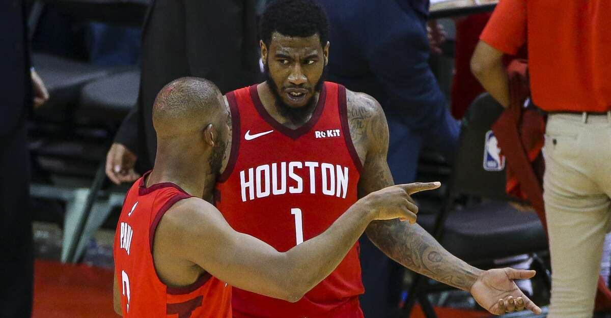 Houston Rockets guard Chris Paul (3) talks to guard Iman Shumpert (1) during Game 3 of the Western Conference semifinals at Toyota Center in Houston, Saturday, May 4, 2019.