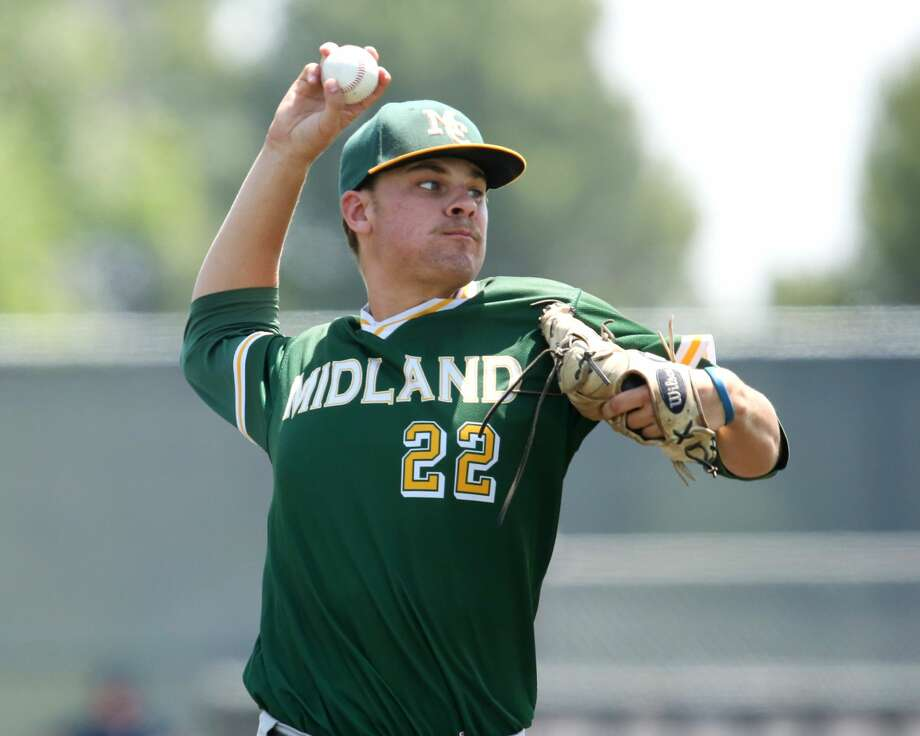 Midland College  sophomore pitcher Garrett Egli throws against Frank Phillips College on Sunday. Photo: Forrest Allen,  MC Athletics