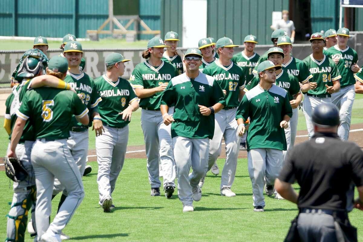 The Midland College baseball team celebrates winning the WJCAC title on Sunday at Christensen Stadium.