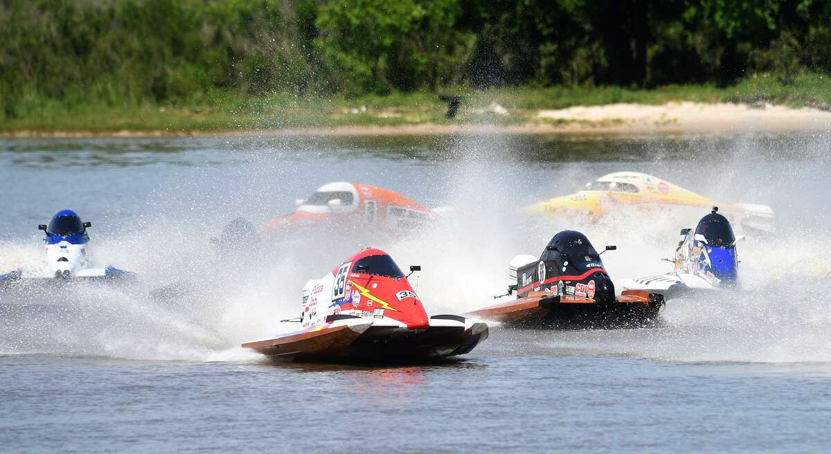 Formula light boats run their first lap during Port Neches' Thunder on the Neches races Sunday. Photo taken Sunday, 5/5/19