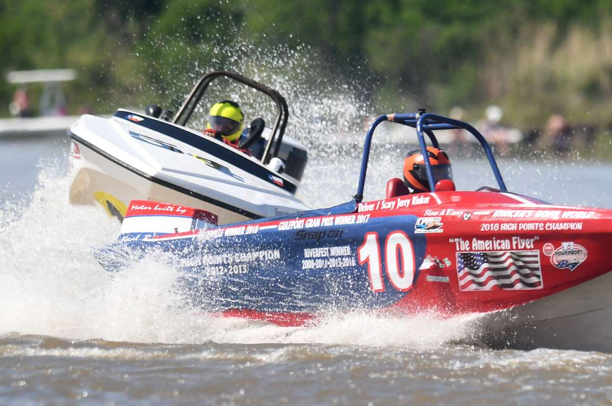 Tri-hull boats race during Port Neches' Thunder on the Neches Sunday. Photo taken Sunday, 5/5/19