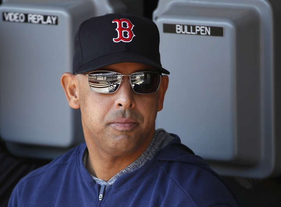 Boston Red Sox manager Alex Cora sits in the dugout before a baseball game against the Chicago White Sox in Chicago, Sunday, May 5, 2019. (AP Photo/Jeff Haynes) Photo: Jeff Haynes, Associated Press