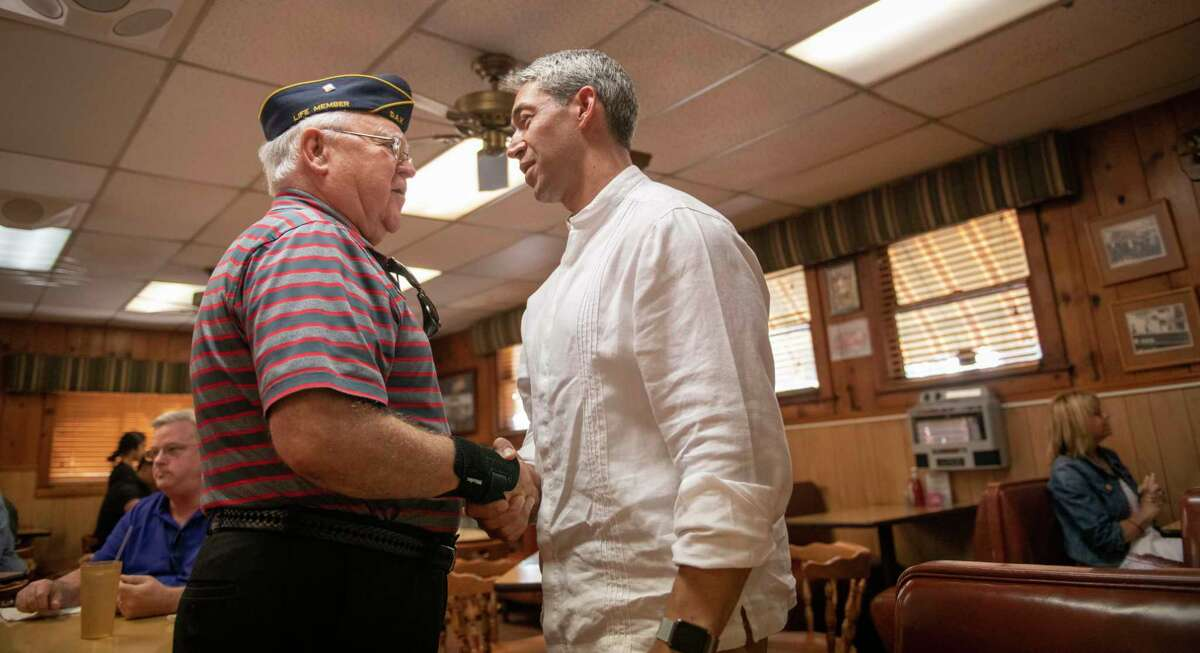"""Mayor Ron Nirenberg speaks with supporters at Tip Top Restaurant on Sunday, May 5th, 2019, a day after City Councilman Greg Brockhouse forced Nirenberg into a June 8 runoff after neither man could secure a majority in Saturday?•s election. The incumbent continued to tell his supporters, ?'Progress isn?•t easy.?"""""""