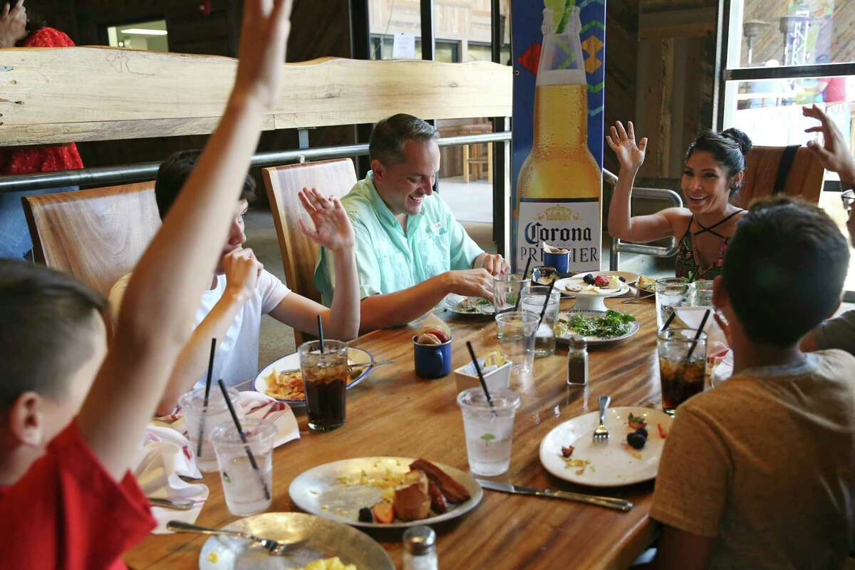 San Antonio City Councilman Greg Brockhouse and his wife, Annalisa Sandoval have lunch with their family at The Rustic in the Rim shopping center, Sunday May 5, 2019. Brockhouse is in a June 8 runoff election with Mayor Ron Nirenberg. Brockhouse drew 45.6 percent with Nirenberg coming in at 48.7 percent in Saturday's election.