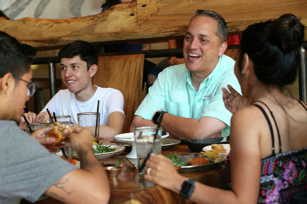 San Antonio City Councilman Greg Brockhouse and his wife, Annalisa Sandoval have lunch with their family at The Rustic in the Rim shopping center, Sunday May 5, 2019. Brockhouse is in a June 8 runoff election with Mayor Ron Nirenberg. Brockhouse drew 45.6 percent with Nirenberg coming in at 48.7 percent in Saturday's election. With them are their sons, Edward, 21, left and David, 16, in white tee shirt.
