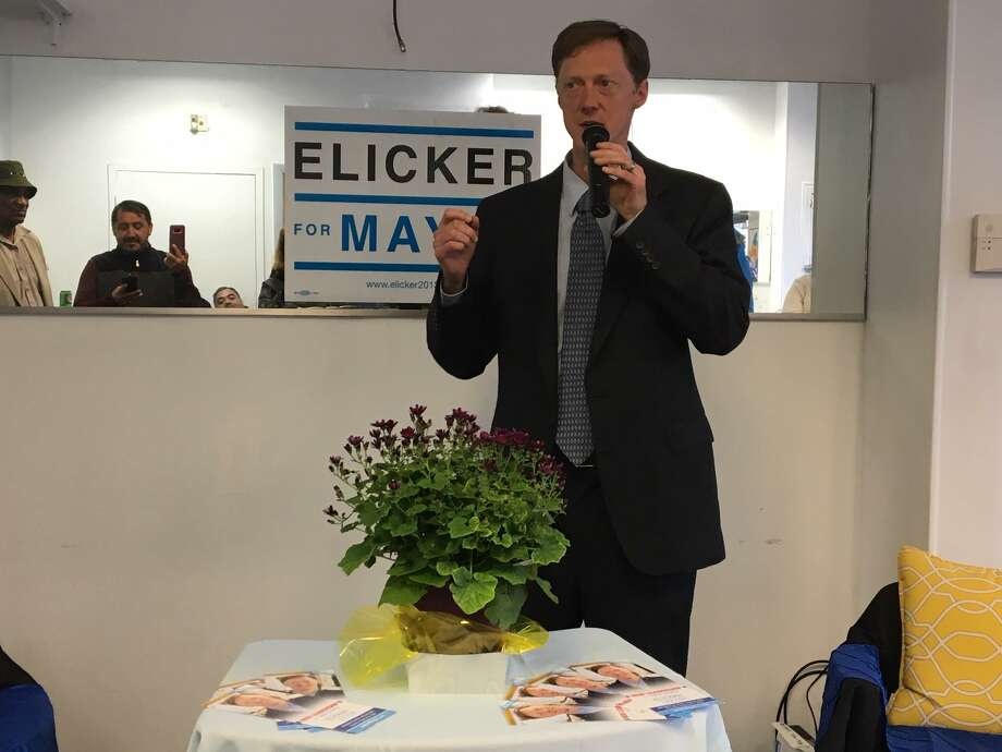 Justin Elicker at the opening of his mayoral campaign headquarters. Photo: Mary E. O'Leary / Hearst Connecticut Media File