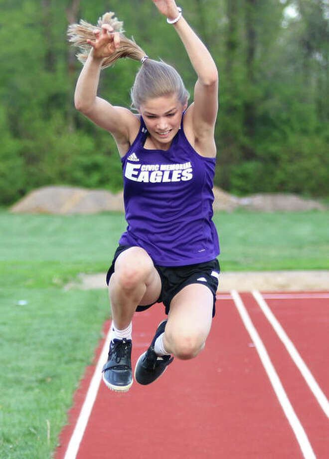 CM freshman Maura Niemeier competes in the triple jump during the Madison County Meet on April 22 at Roxana. Niemeier won the event and added the Mississippi Valley Conference title in the triple jump on Friday at Mascoutah. Photo: Greg Shashack / The Telegraph