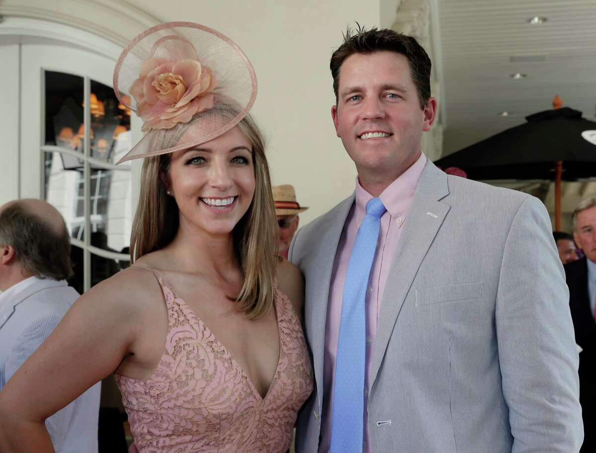 """Megan and Luke Hotze at the annual """"Hats Hearts and Horsehsoes"""" Kentucky Derby party benefiting Bo's Place hosted by Fertitta family Saturday, May. 4, 2019 in Houston, TX."""