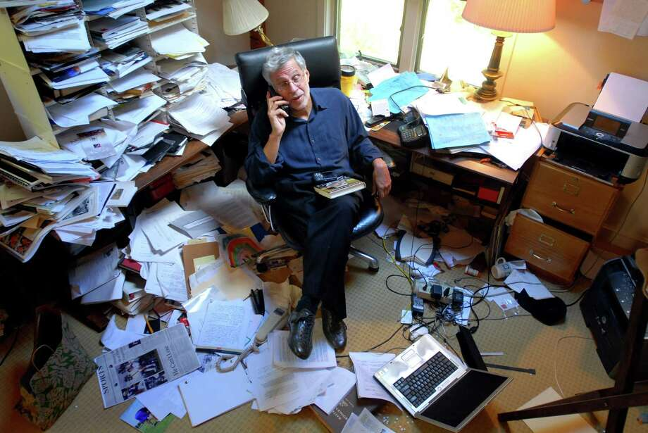 Author Lary Bloom is photographed in his office at home in Chester. Photo: Arnold Gold / Hearst Media Connecticut
