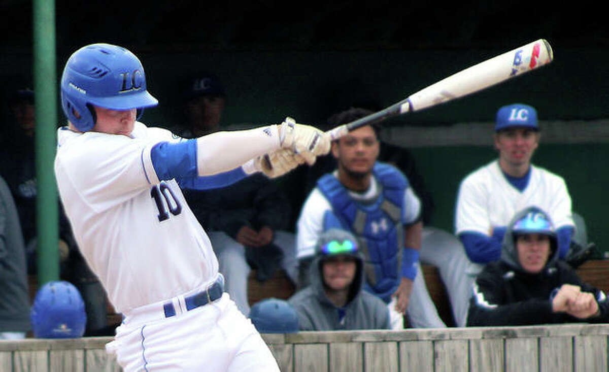 Tate Wargo of LCCC, a sophomore shortstop from Gillespie, is batting .259 with six doubles and five triples in 112 at-bats for LCCC, which is 26-13 overall and 20-8 in the Mid-West Athletic Conference standings. Above, Wargo singles against St. Charles Community College.