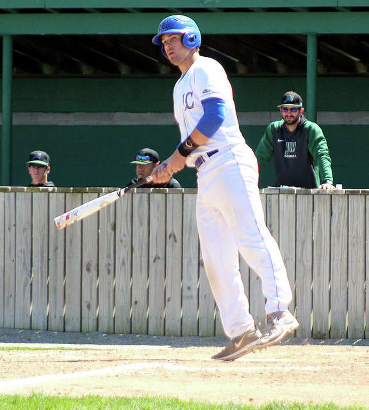 Nick Wilke of Lewis and Clark, a freshman from Wentzville, Mo., is batting .317 with with six doubles, a triple and a home run for the 26-13 Trailblazers. Above, he watches a base hit against John Wood College.