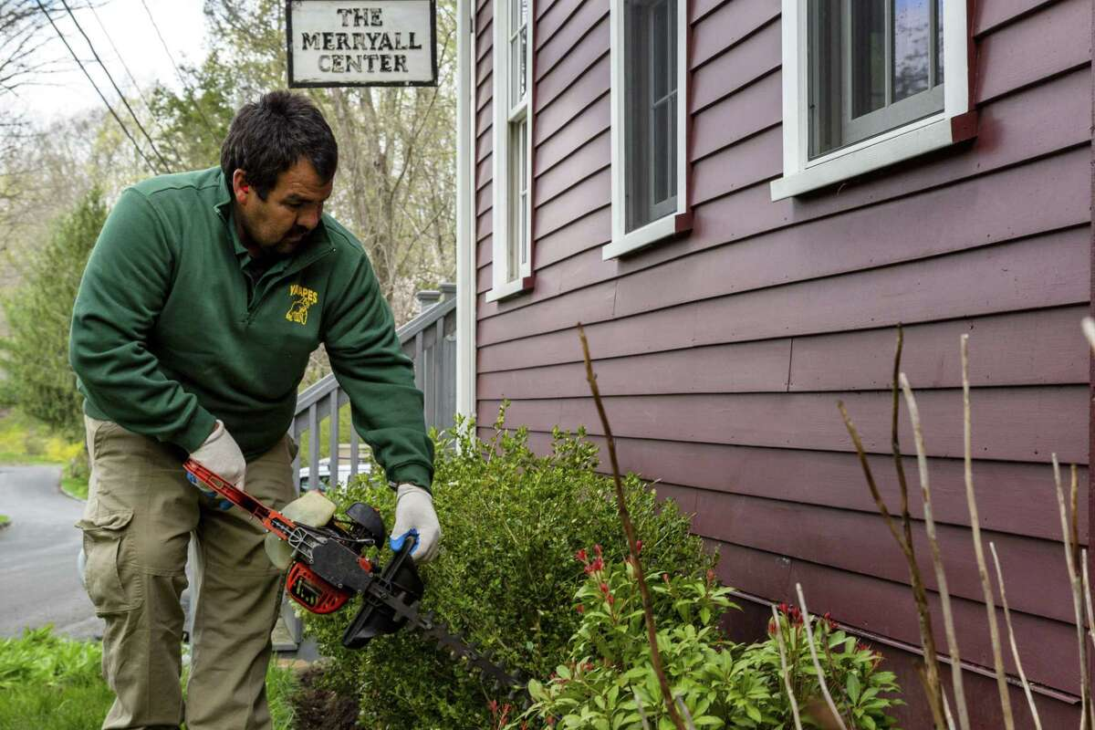 Jesus Alberto-Millanez trims a shrub outside of Merryall Center for the Arts. He was one of 38 volunteers for YardApes, Inc, a landscaping company in New Milford, that spruced up local nonprofits and a school on April 28, 2019.