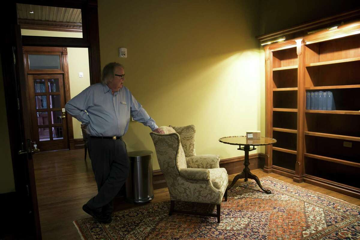 Staff member David Simpson shows off the newly-remodeled dean's vestry at Christ Church Cathedral on Sunday, April 7, 2019, in downtown Houston. The cathedral is nearing the end of a major renovation.