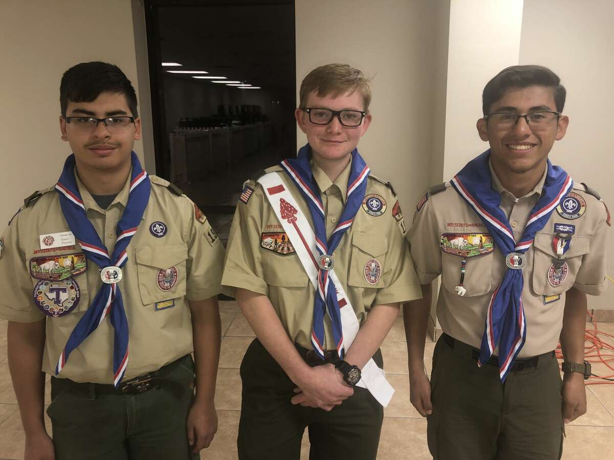 Eagle Scout: Isaac Prieto, from left, David Tidwell and Anthony Pina