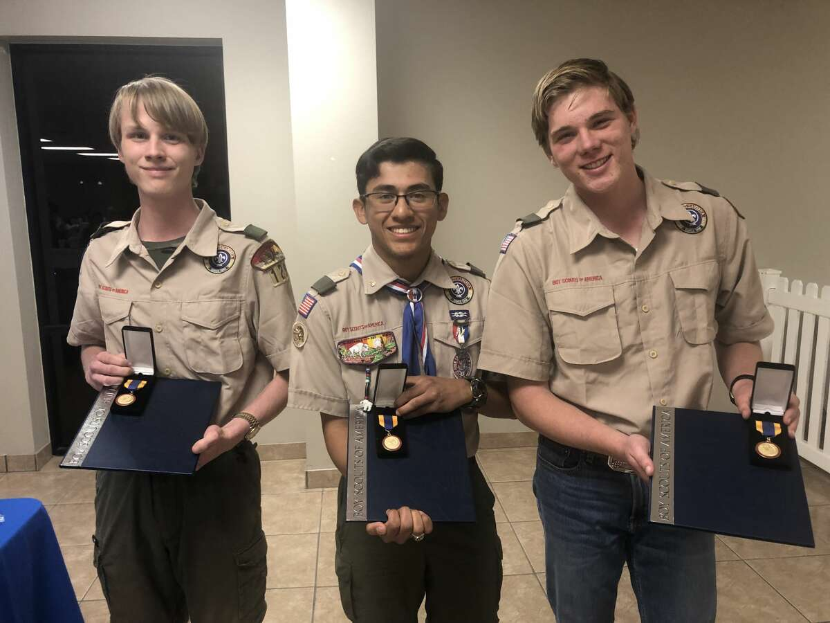 Eagle Scout: Timothy Tucker, from left, Anthony Pina and Justus Tucker