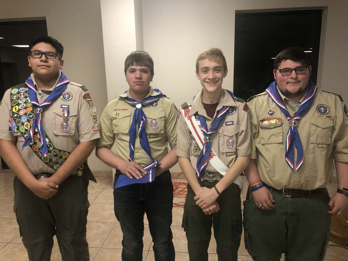 Eagle Scout: Saul Gutierrez, from left, Braden Drake, Miles Baker and Travis Lawrence