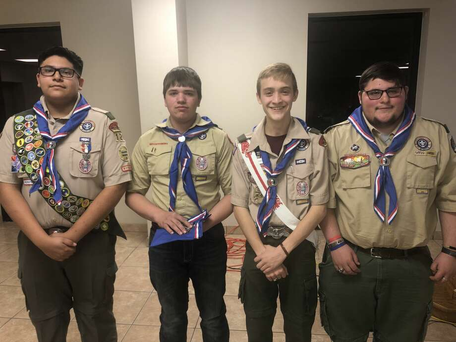Eagle Scout: Saul Gutierrez, from left, Braden Drake, Miles Baker and Travis Lawrence Photo: Courtesy Photo