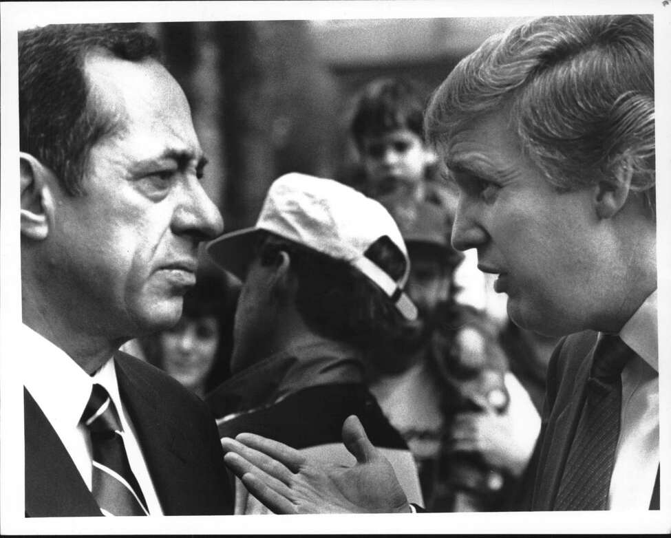 New York Governor Mario Cuomo chats with Donald Trump in Albany prior to start of race. May 06, 1989 (John Carl D'Annibale/Times Union Archive)