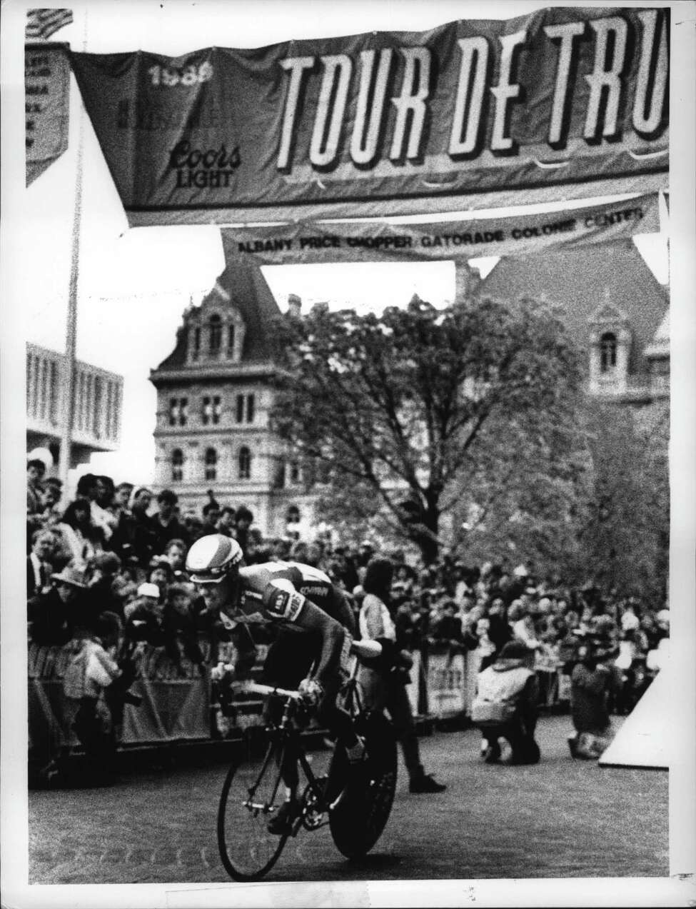 Empire State Plaza, Albany, New York - fastest in time trials, America Thomas Craven, of team Wheaties-Schwinn, at start of Tour de Trump. May 5, 1989 (John Carl D'Annibale/Times Union Archive)