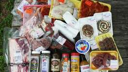 An assortment of meats and other food items collected throughout 10 San Antonio-area meat markets.