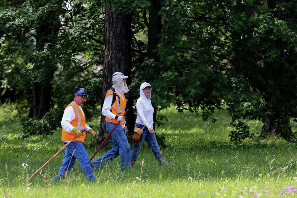 Members of Texas EquuSearch conduct a search for four-year-old Maleah Davis Monday, May 6, 2019, in Humble, Texas.